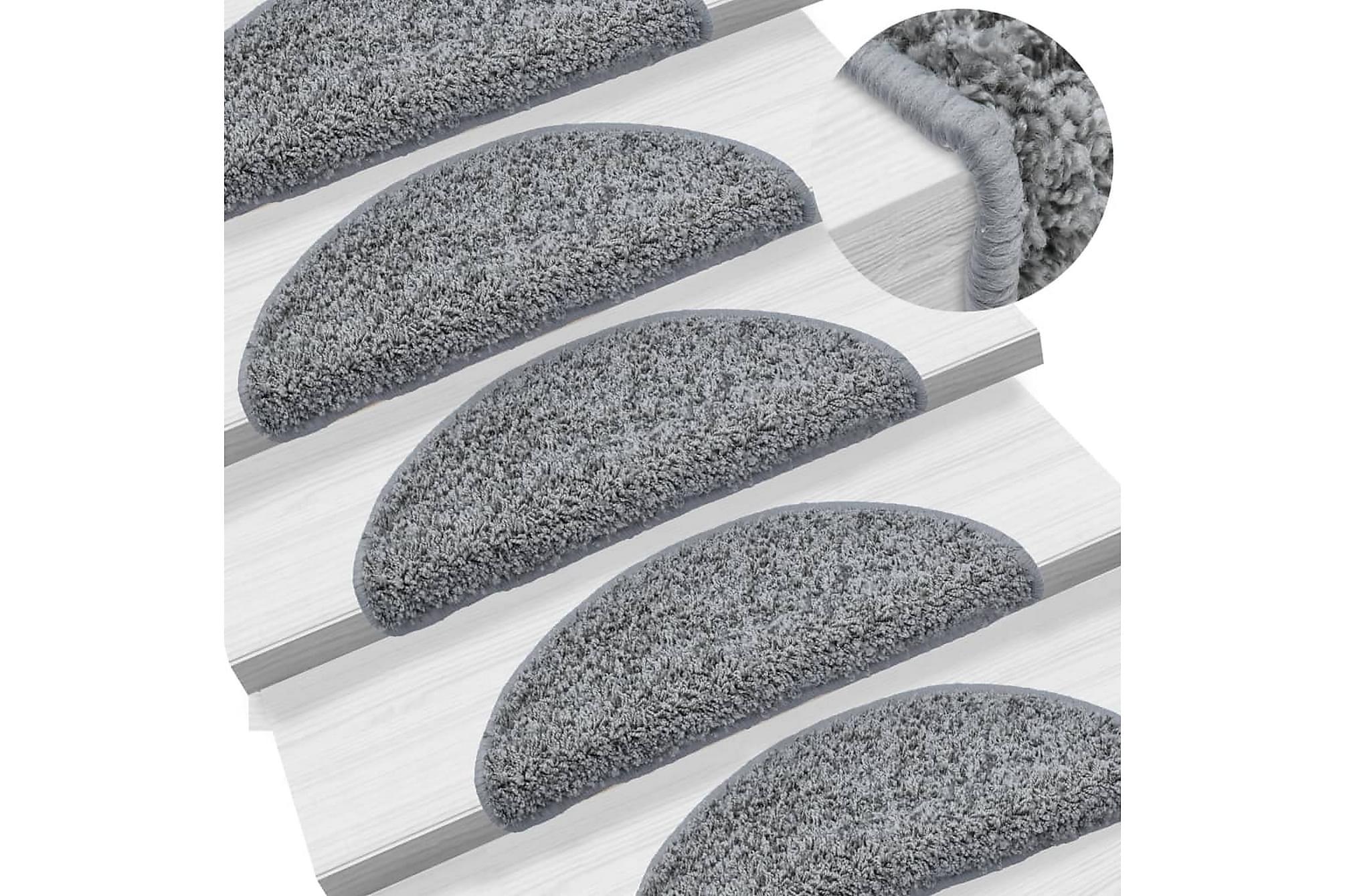 15 st Trappstegsmattor grå 56x20 cm, Trappstegsmattor