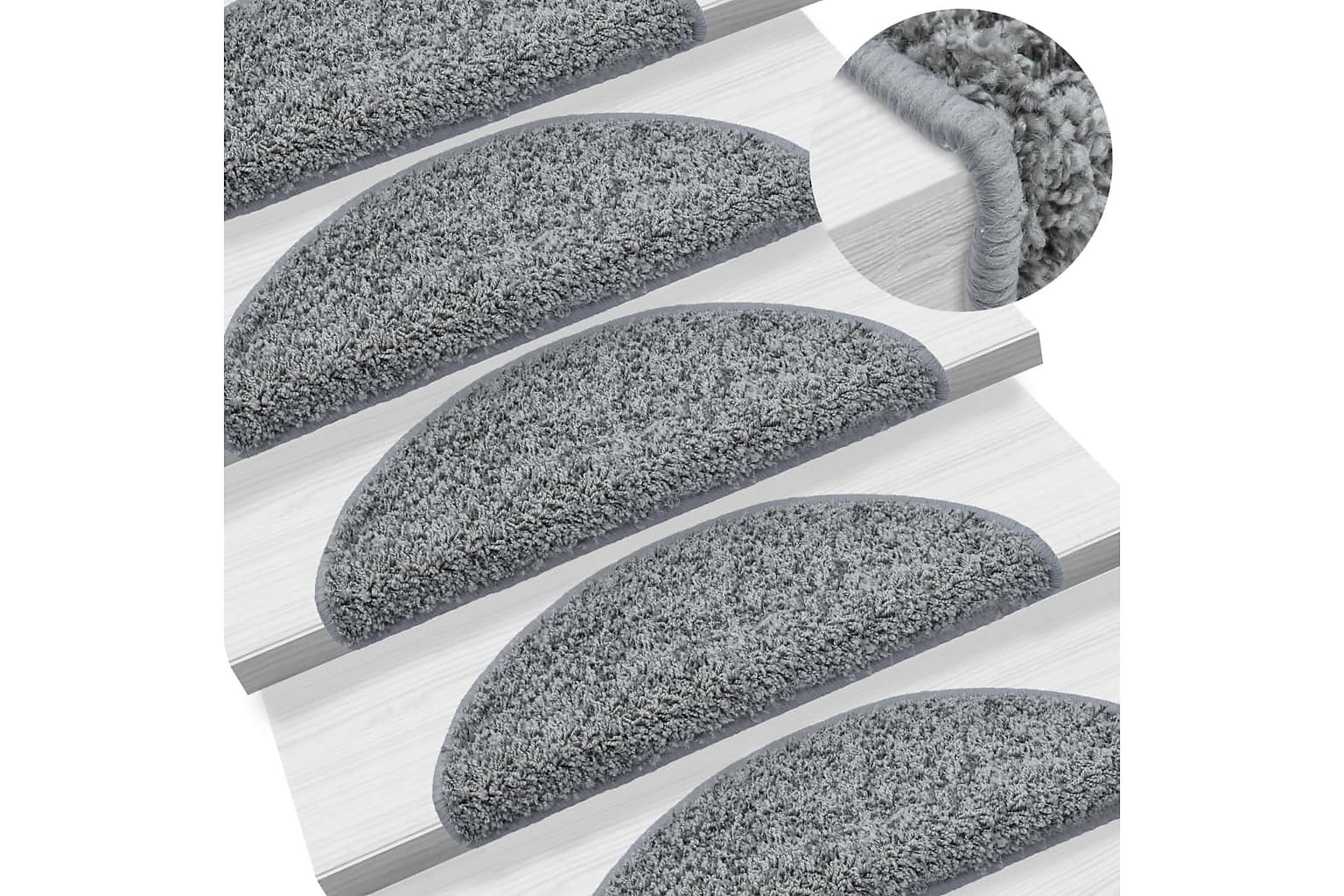 15 st Trappstegsmattor grå 65x25 cm, Trappstegsmattor