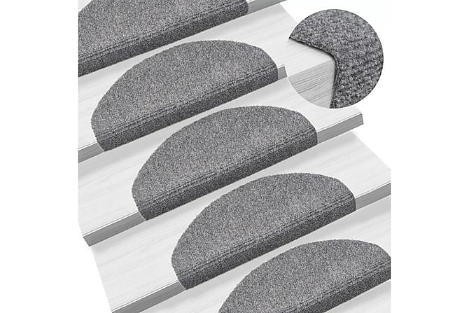 Trappstegsmattor självhäftande 15st brodyr 65x21x4cm ljusgrå - Ljusgrå - Möbler & Inredning - Mattor - Trappstegsmattor