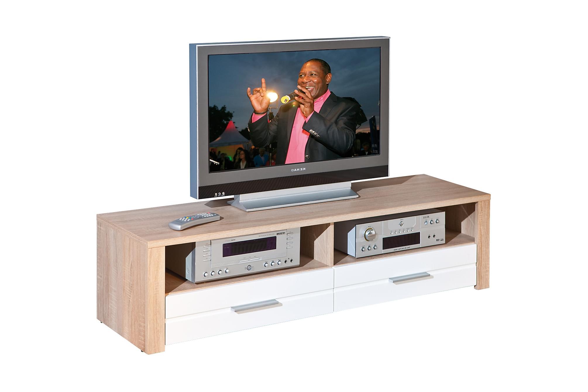 ABSOLUTO TV-bänk 150 Vit/Ljus Ek, Tv-bänkar