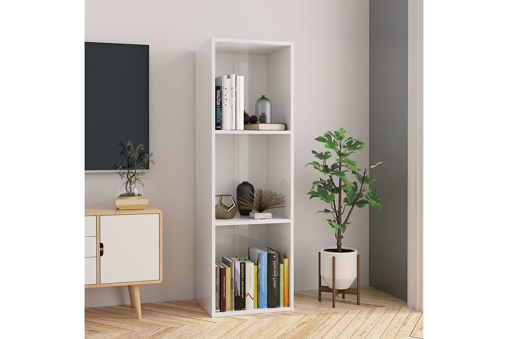 Bokhylla/TV-bänk vit högglans 36x30x114 cm spånskiva, Tv-bänkar