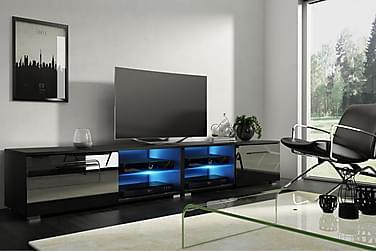 CALUM TV-bänk 200 LED-belysning Svart