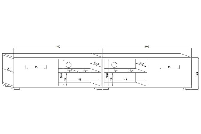 CALUM TV-bänk 200 LED-belysning Trä - Möbler & Inredning - Mediamöbler - Tv-bänkar