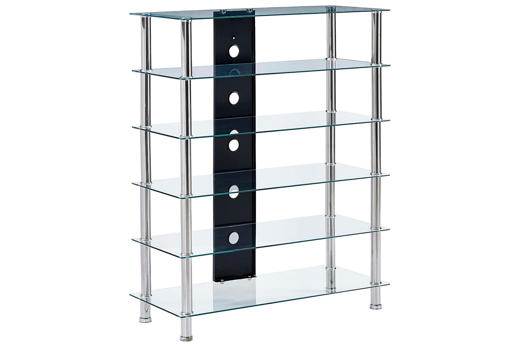 HiFi-bänk transparent 90x40x113 cm härdat glas