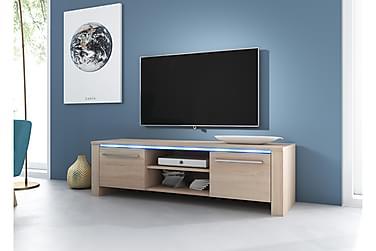 JENNICE TV-bänk 160 LED-belysning Natur/Trä
