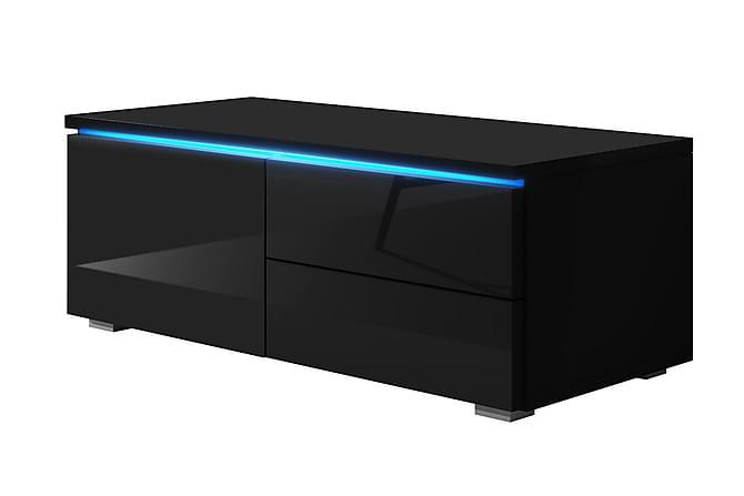 MEGA TV-bänk 100 LED-belysning Lucka 2 Lådor Svart - Inomhus - Mediamöbler - Tv-bänkar