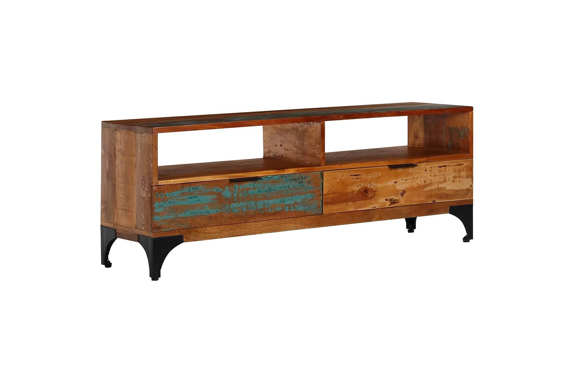 TV-bänk 118x35x45 cm massivt återvunnet trä
