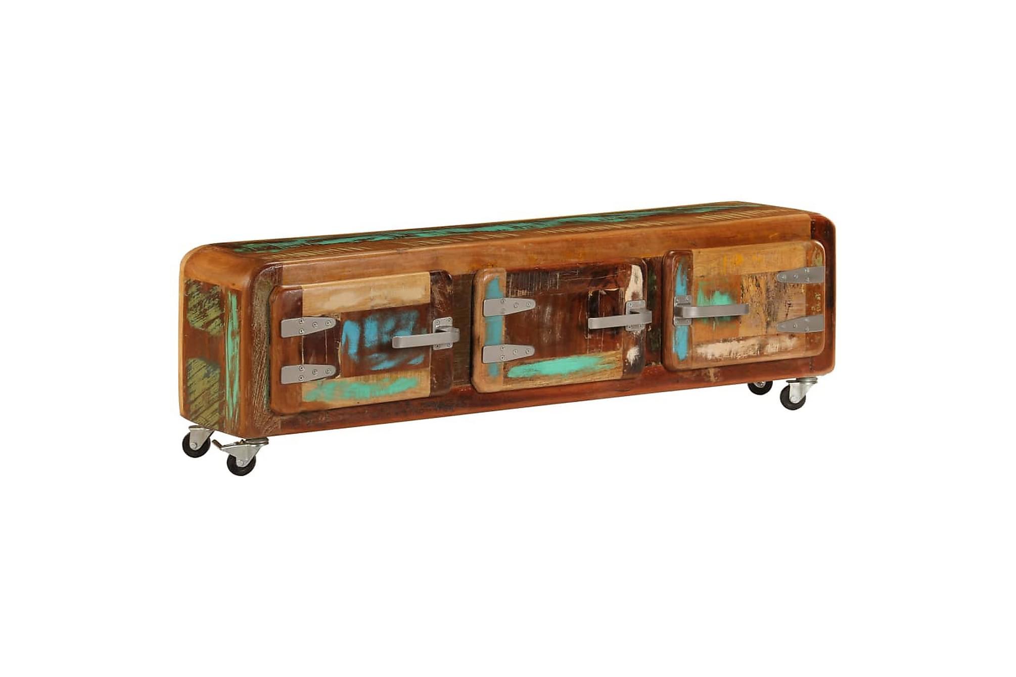 TV-bänk 120x30x37 cm massivt återvunnet trä