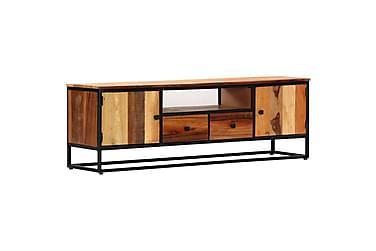 TV-BÄNK 120x30x40 cm massivt återvunnet trä och stål