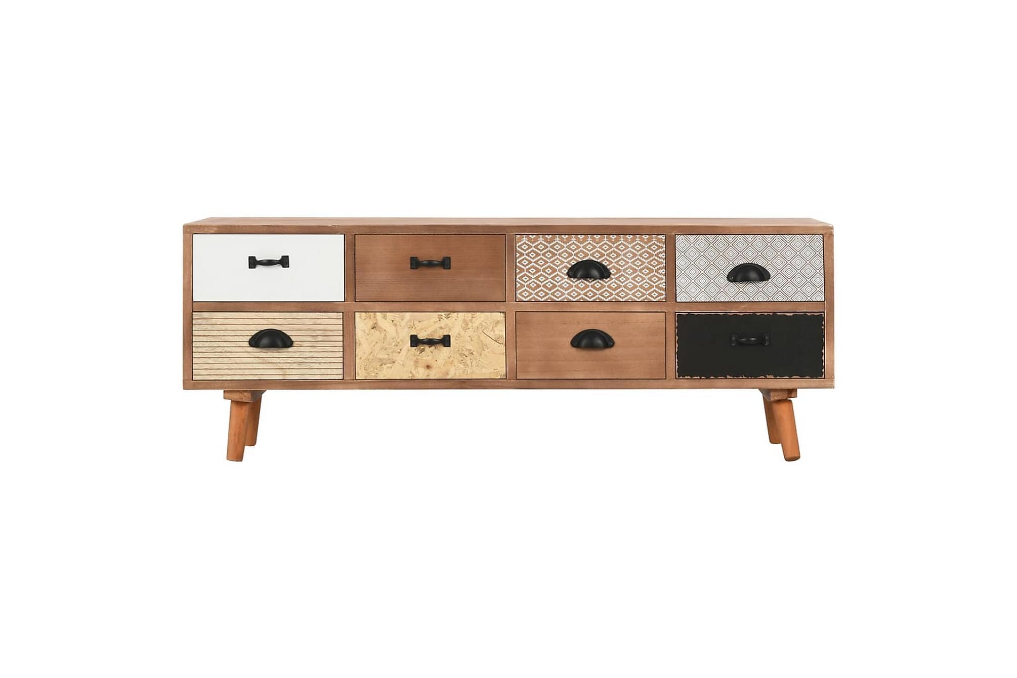 TV-bänk med 8 lådor 120x30x40 cm massiv furu