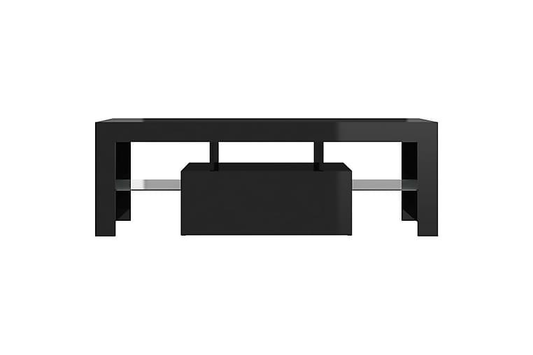TV-bänk med LED-lampor högglans svart 120x35x40 cm - Svart - Möbler & Inredning - Mediamöbler - Tv-bänkar