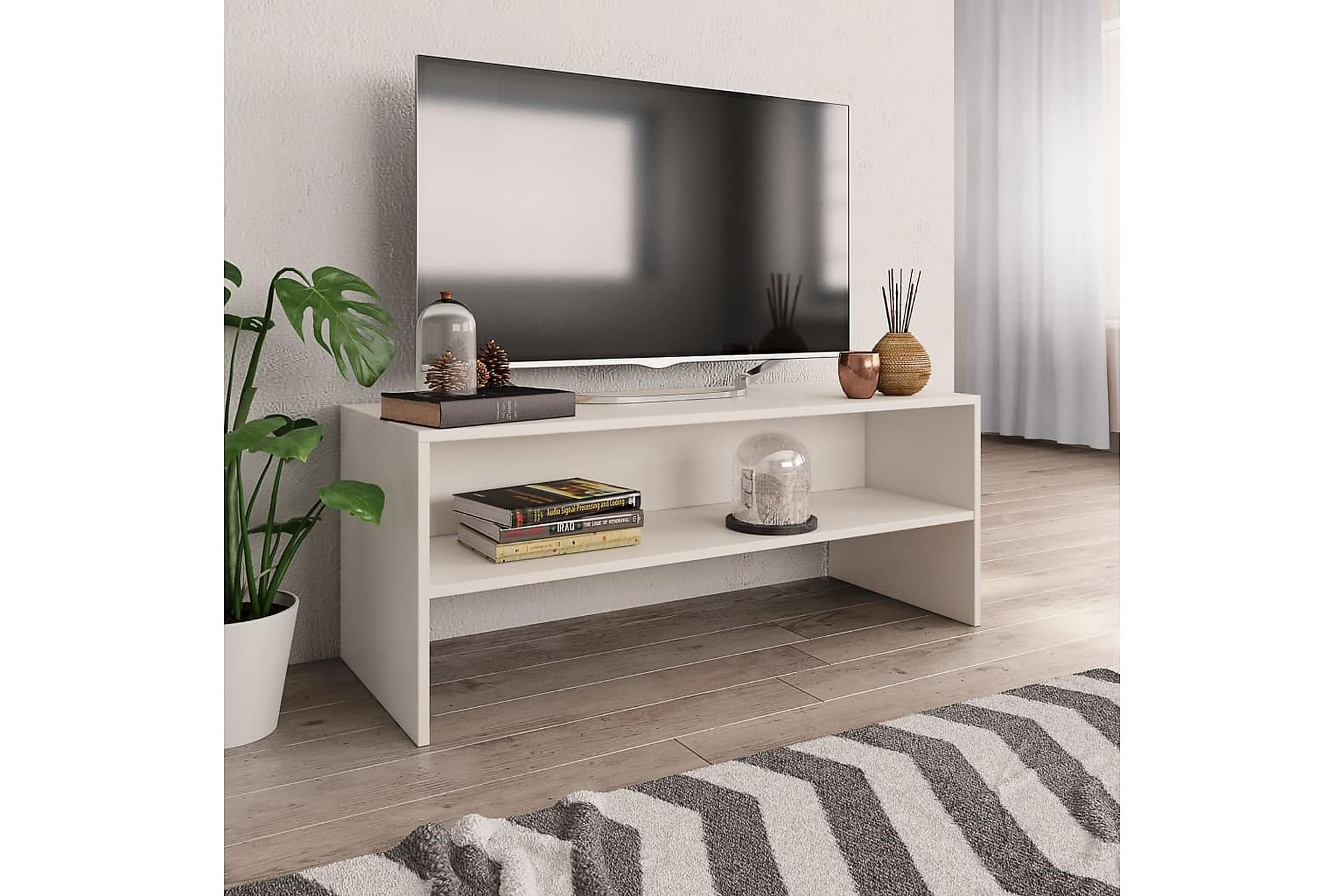 TV-bänk vit 100x40x40 cm spånskiva