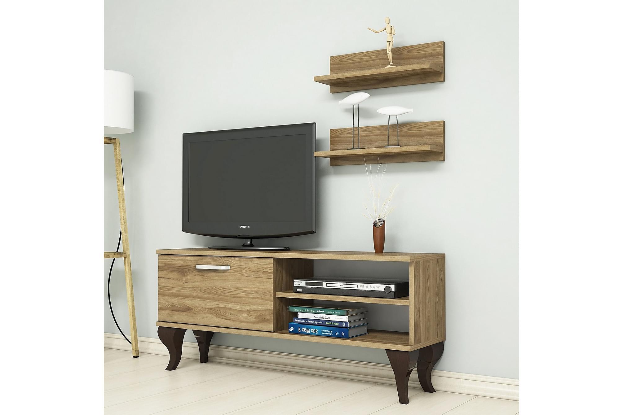 ANEESIA TV-Möbelset 120 cm Valnöt, Tv-möbelset