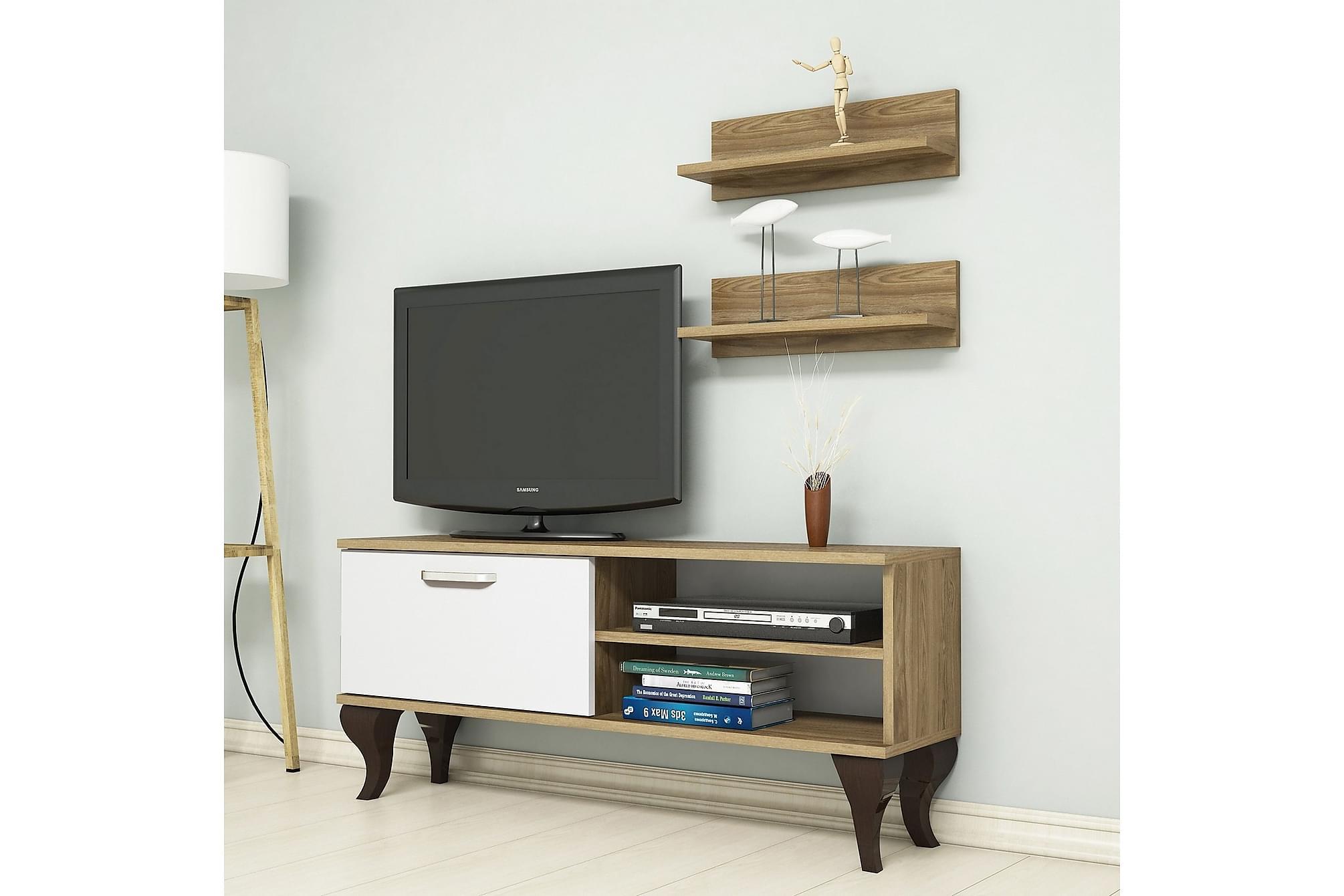 ANEESIA TV-Möbelset 120 cm Valnöt/Vit, Tv-möbelset
