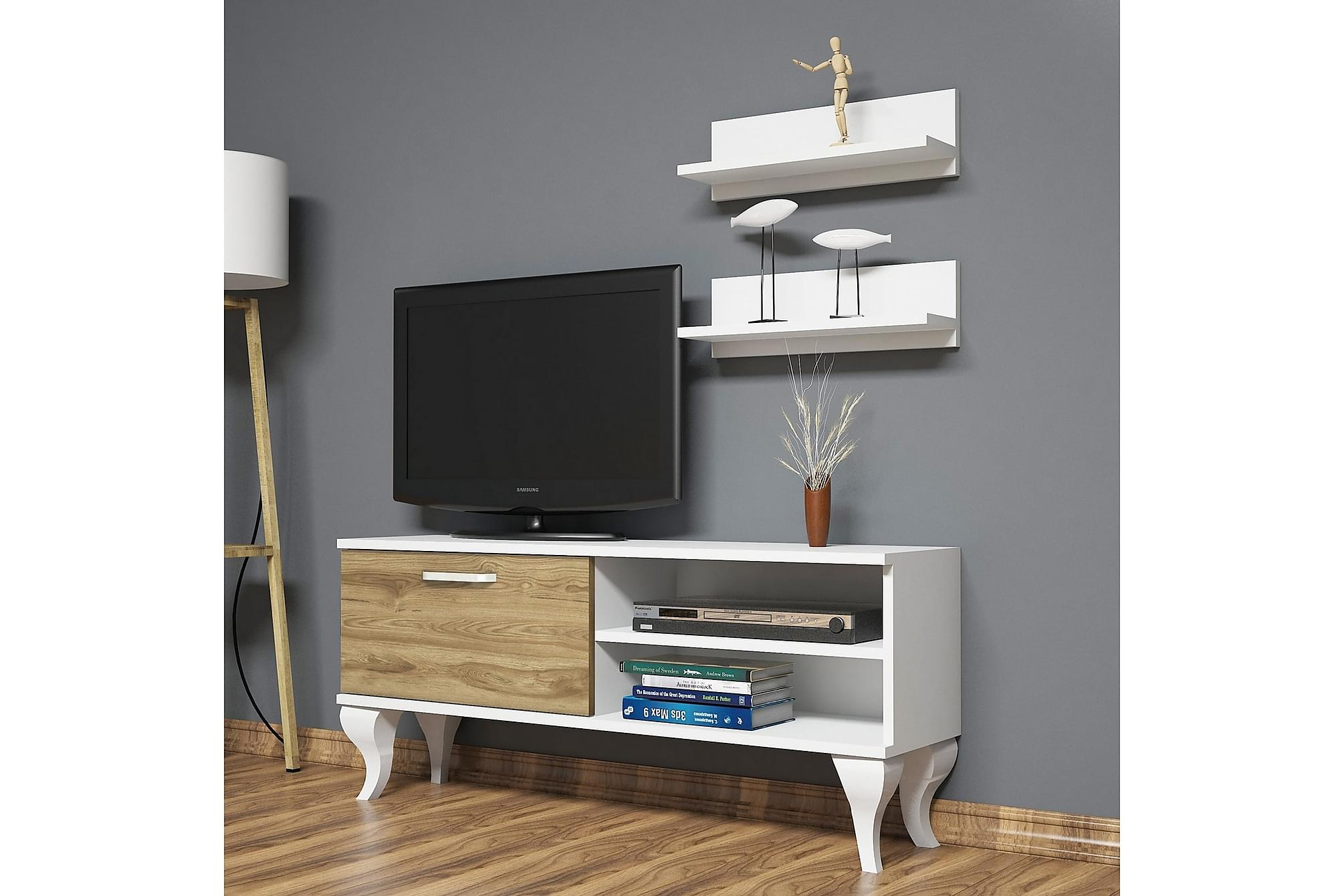 ANEESIA TV-Möbelset 120 cm Vit/Valnöt, Tv-möbelset