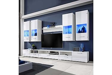 Cornelio TV-möbelset 300 cm Blå LED-belysning 8 Delar