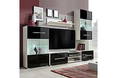 FARONE TV-möbelset 240 med Väggskåp + LED 5 Delar Svart