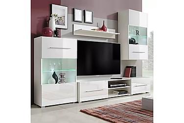 FARONE TV-möbelset 240 med Vitrinskåp + LED 5 Delar Vit