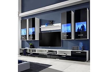 FAZZINA TV-möbelset 300 Blå LED-belysning 8 Delar Svart