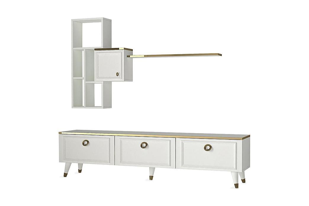 KYRKEBERG TV-Möbelset 180 cm Vit/Gul - Möbler & Inredning - Mediamöbler - Tv-möbelset