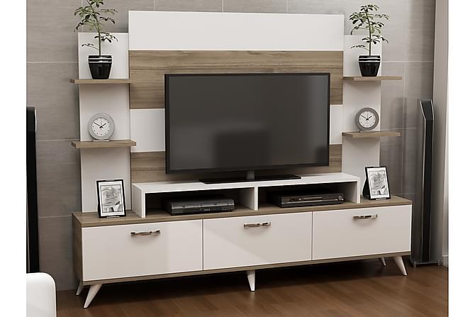 LISSETTE Mediaförvaring Vit/Valnöt - Vit/Valnöt - Möbler & Inredning - Mediamöbler - Tv-möbelset