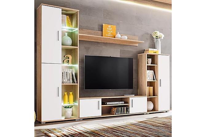 TV-möbel med LED-belysning sonoma-ek och vit - Vit - Möbler & Inredning - Mediamöbler - Tv-möbelset