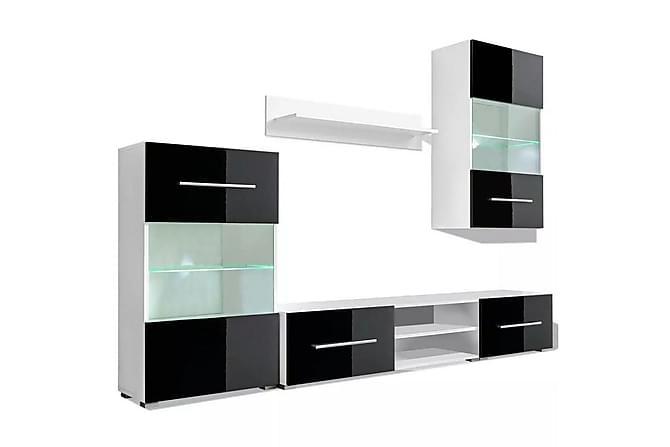 TV-möbel med väggskåp och LED 5 delar svart - Svart - Möbler & Inredning - Mediamöbler - Tv-möbelset