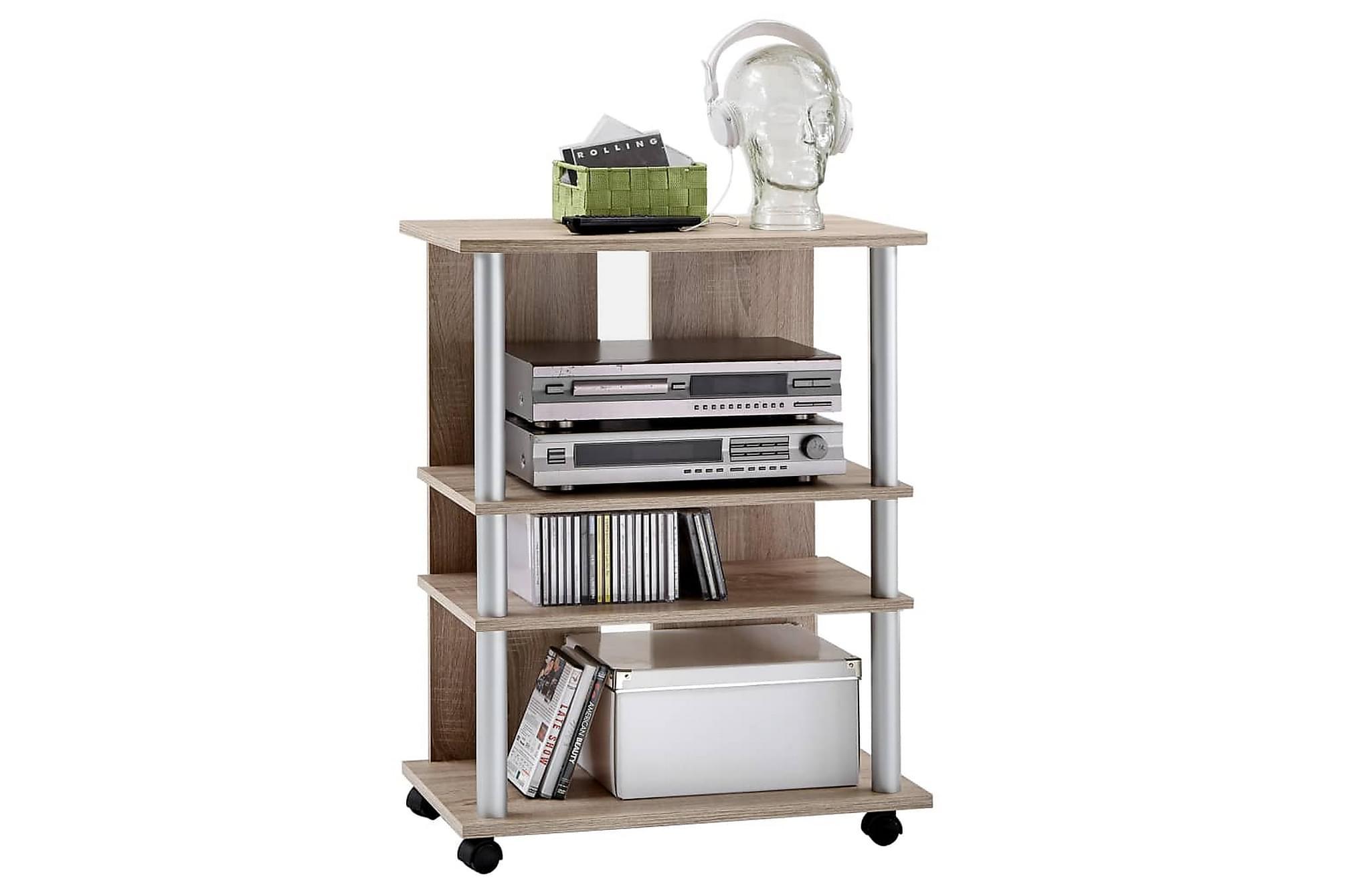 FMD TV-/HiFi-hylla med 3 fack 65x40x79,2cm ek, Tv-väggfästen