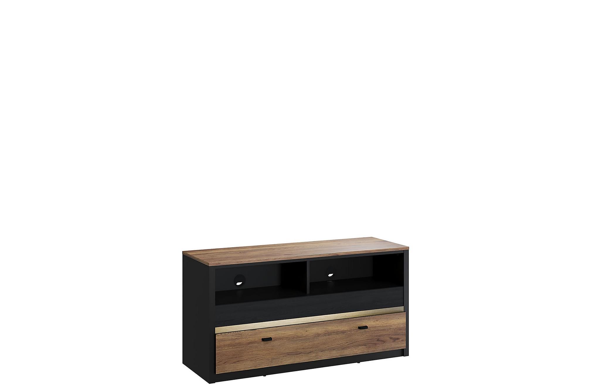 BELIZE TV-bänk 43x120 cm Svart/Trä, Mediamöbler