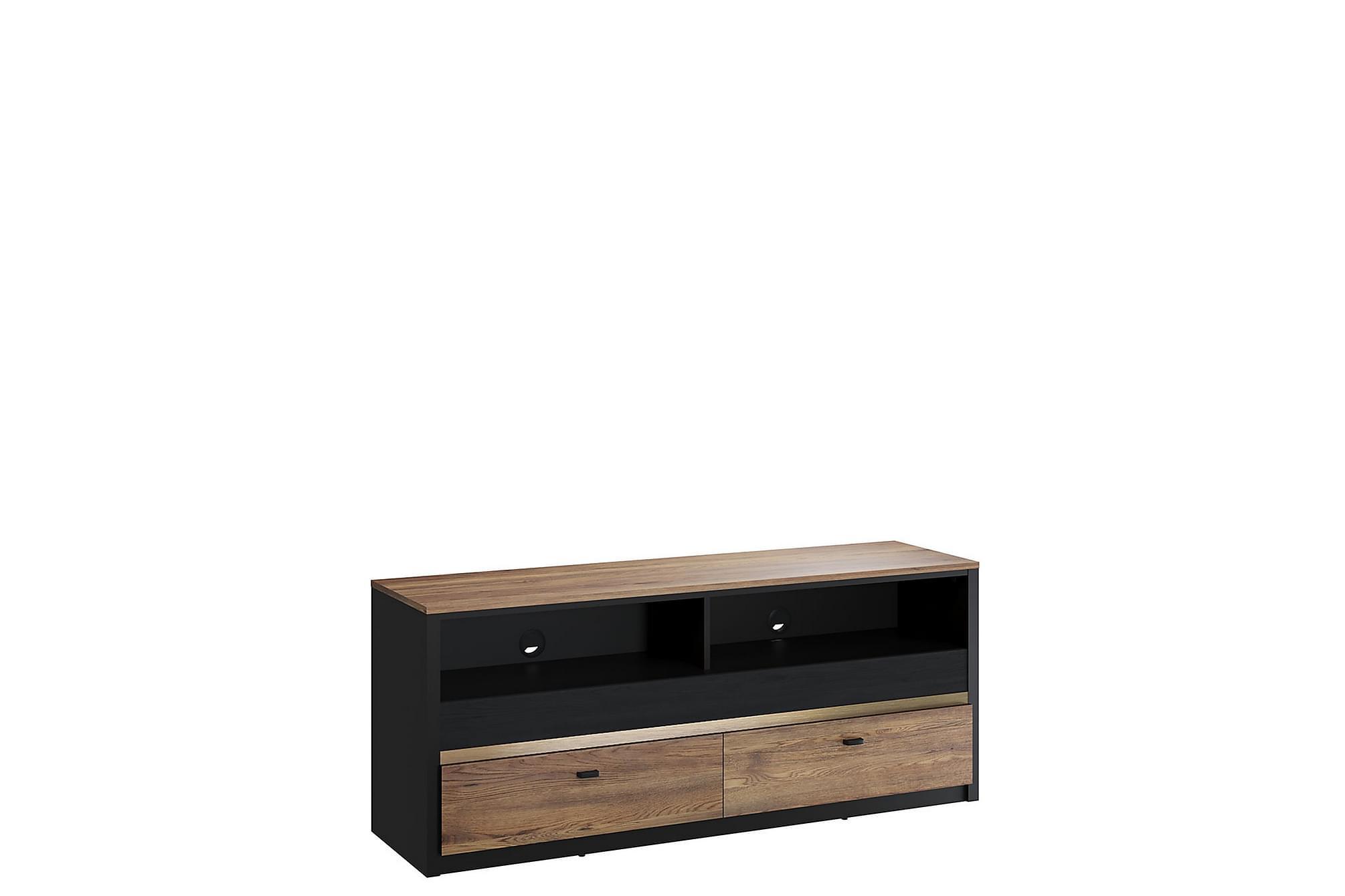 BELIZE TV-bänk 43x150 cm Svart/Trä, Mediamöbler