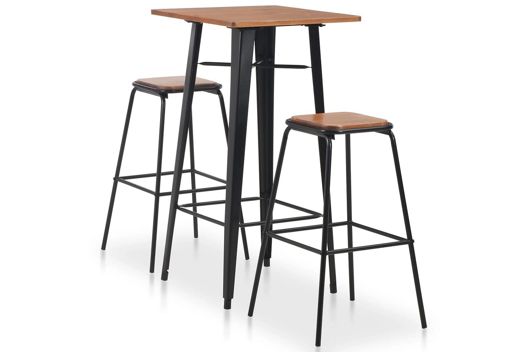 Bargrupp 3 delar stål svart brun, Möbelset för kök & matplats