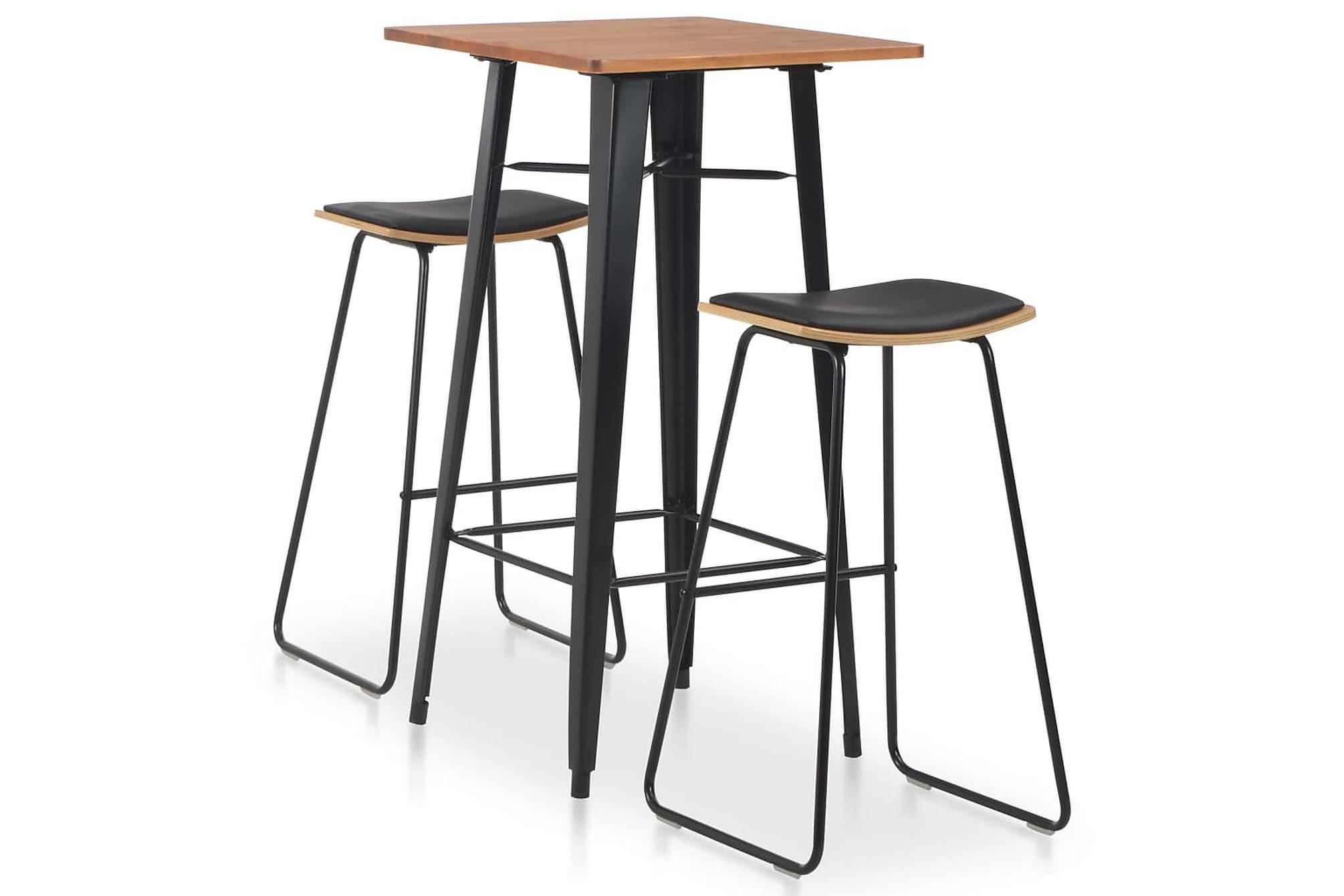 Bargrupp 3 delar stål svart, Möbelset för kök & matplats