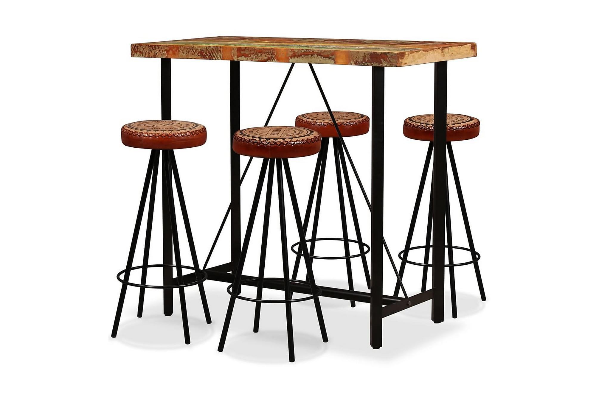 Barmöbler 5 delar återvunnet trä, äkta läder & kanvas, Möbelset för kök & matplats