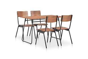 MATGRUPP 5 delar massivt plywood stål brun