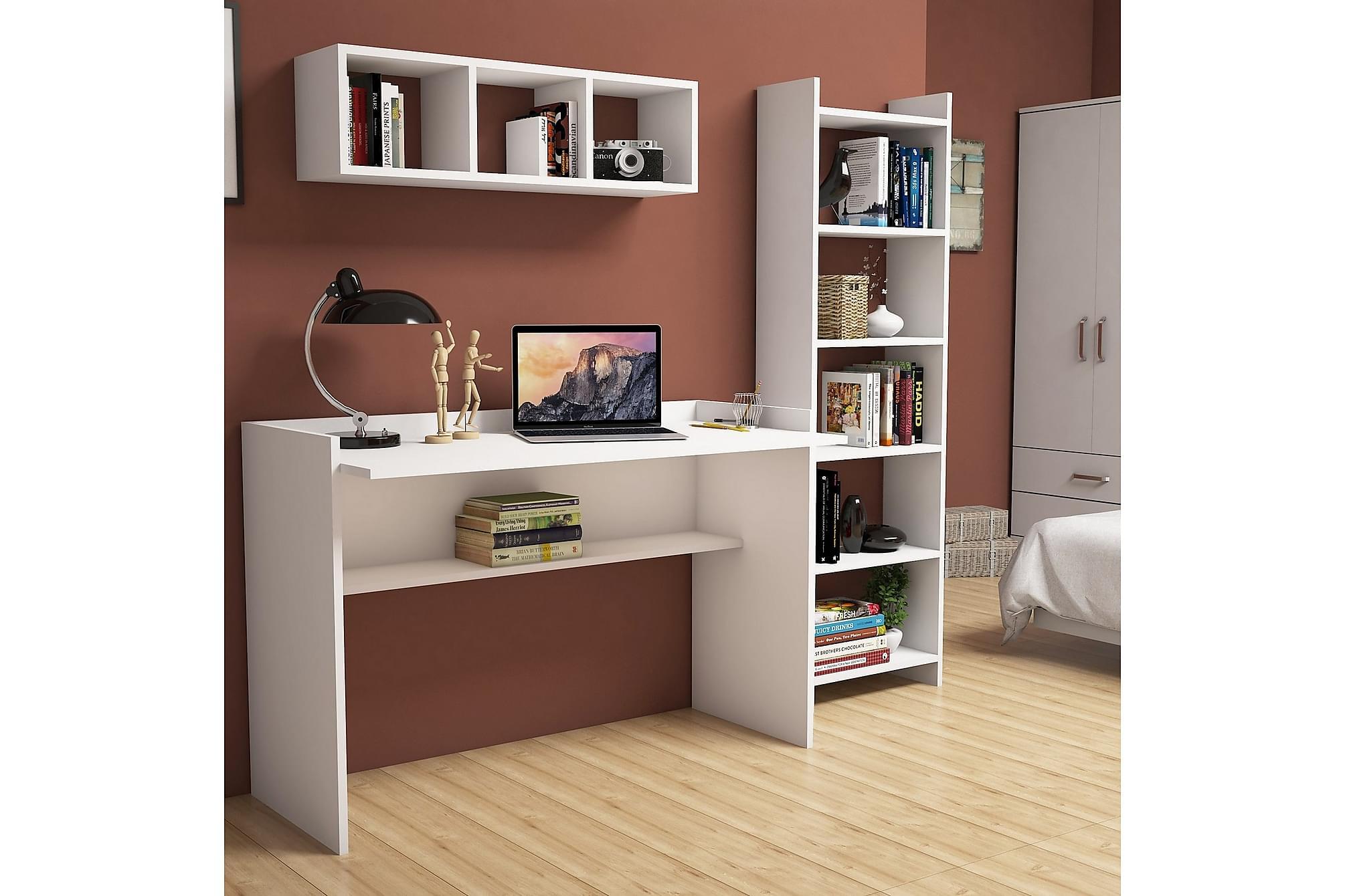 HYLEIGH Kontorsmöbelset 118 cm Vit, Möbelset för kontor
