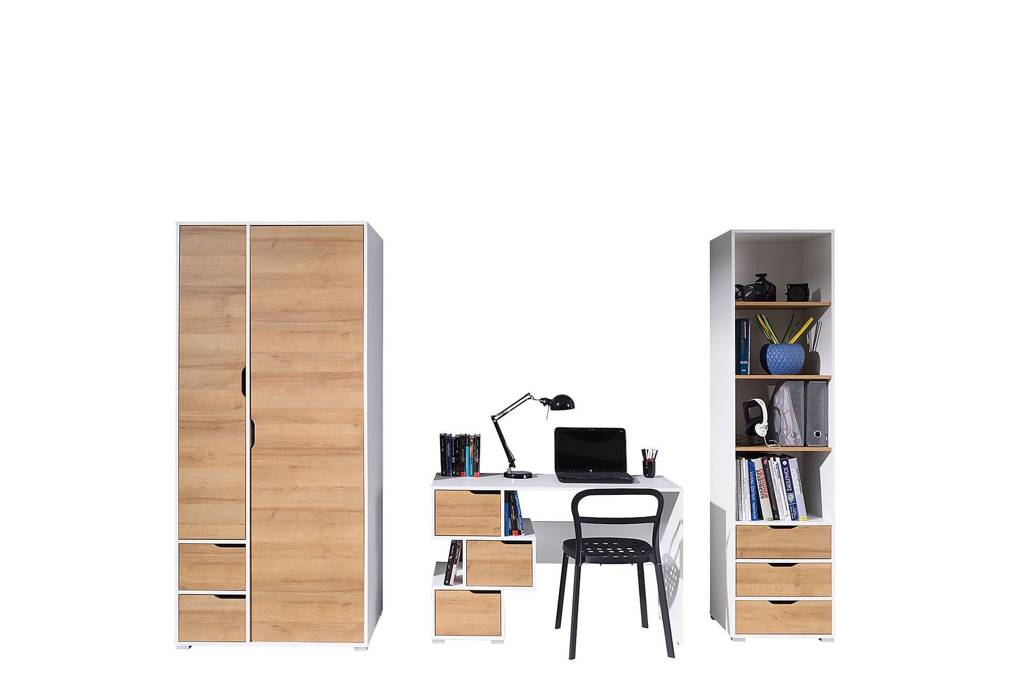 IWA Vardagsrumsset Vit/Ek, Möbelset för kontor