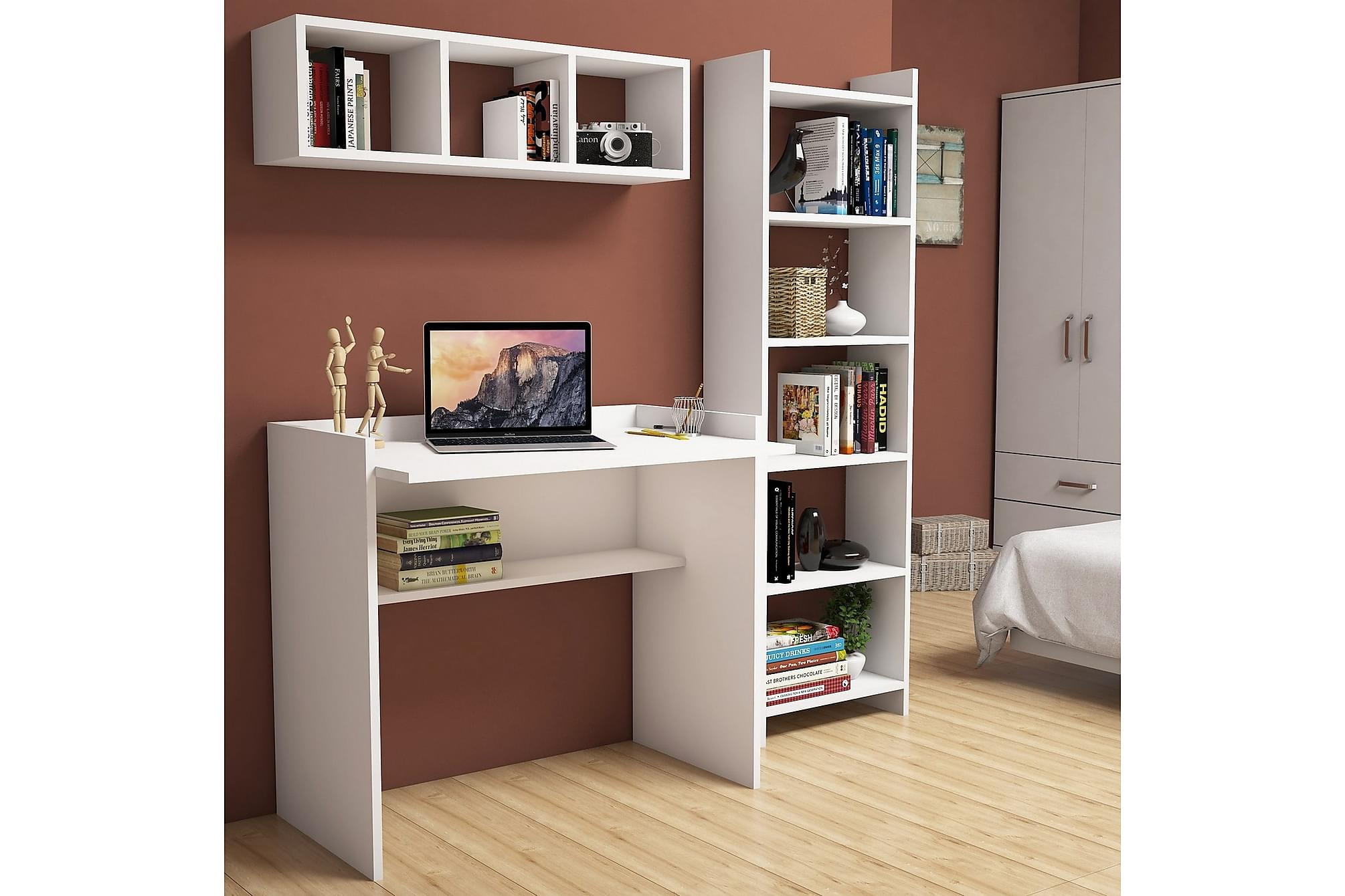 JAZALLE Kontorsmöbelset 90 cm Vit, Möbelset för kontor