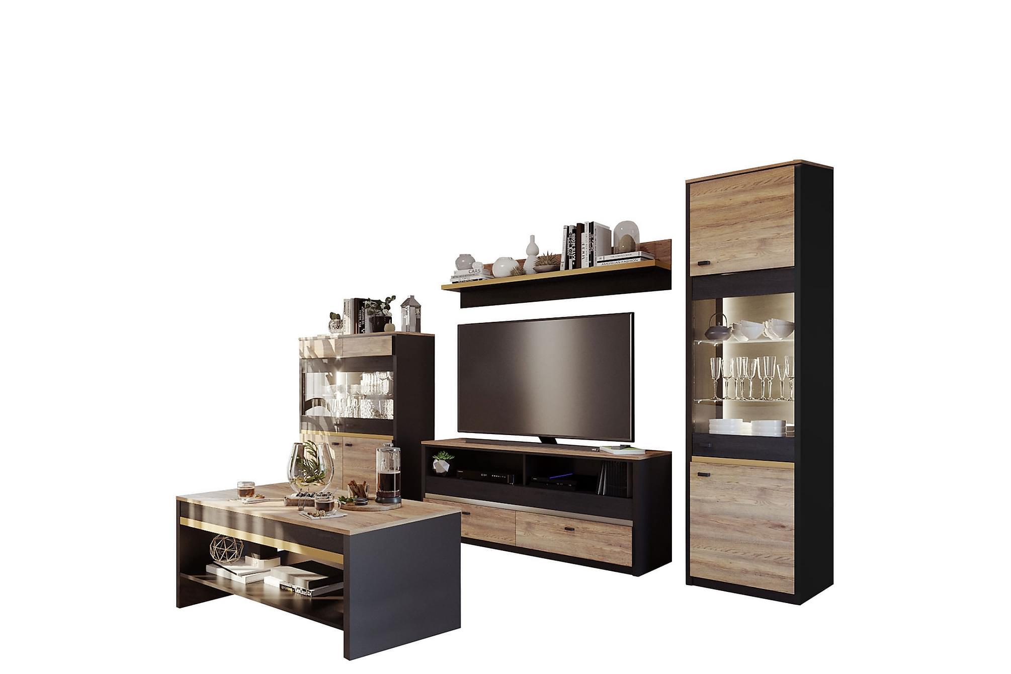 BELIZE Vardagsrumsset Svart/Ek, Möbelset för vardagsrum