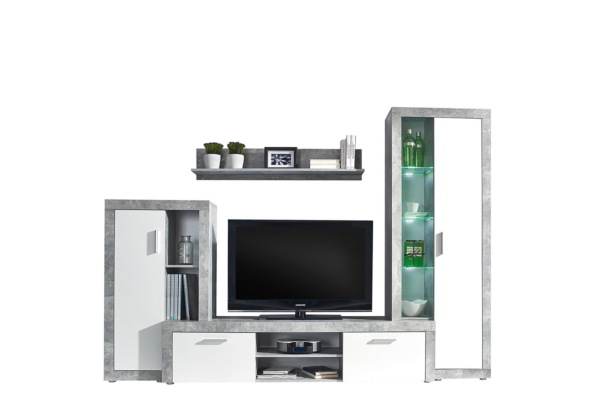BOLTON Vardagsrumsset Grå/Vit, Möbelset för vardagsrum