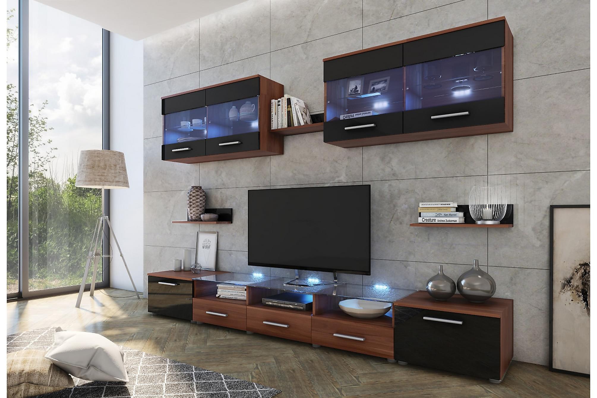 CAMA Vardagsrumsset 42x250 cm LED-belysning Svart/Högglans/B, Möbelset för vardagsrum