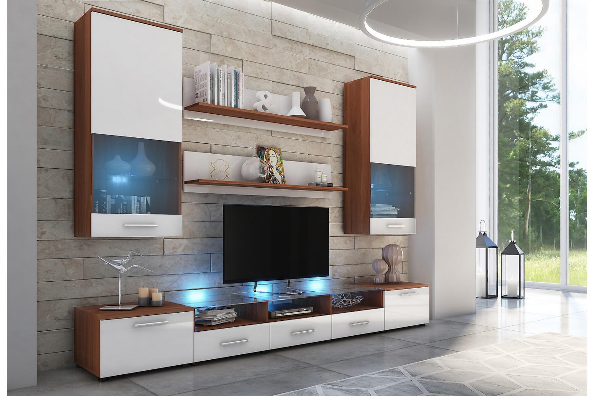 CAMA Vardagsrumsset 42x250 cm LED-belysning Vit/Högglans, Möbelset för vardagsrum