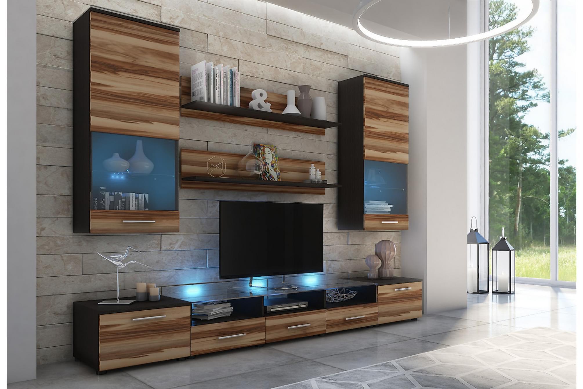 CAMA Vardagsrumsset 42x250 cm LED-belysning Wenge/Valnöt Blå, Möbelset för vardagsrum