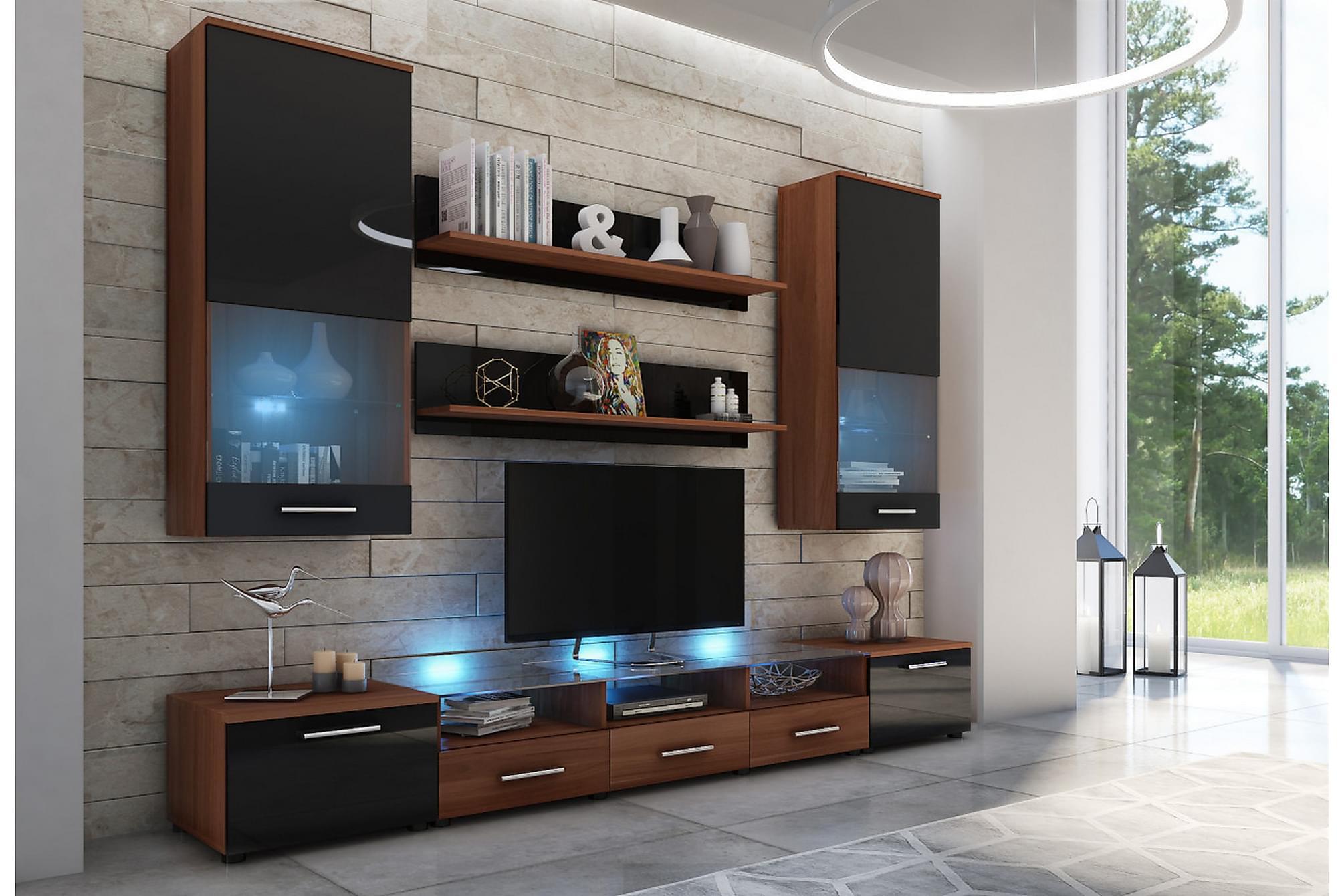 CAMA Vardagsrumsset 42x250 cm Svart Högglans, Möbelset för vardagsrum