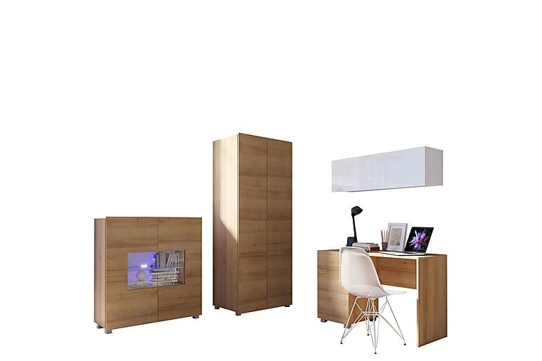 TRACEY Vardagsrumsset - Ek/Vit Högglans/Vit Led-Belysning - Möbler & Inredning - Möbelset - Möbelset för vardagsrum