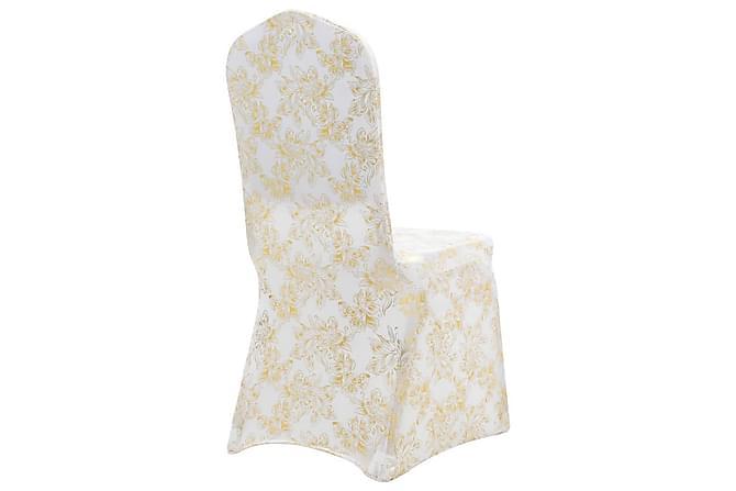 25 st stolsöverdrag stretch vit med guldtryck - Vit|Beige - Möbler & Inredning - Möbelvård - Möbelöverdrag
