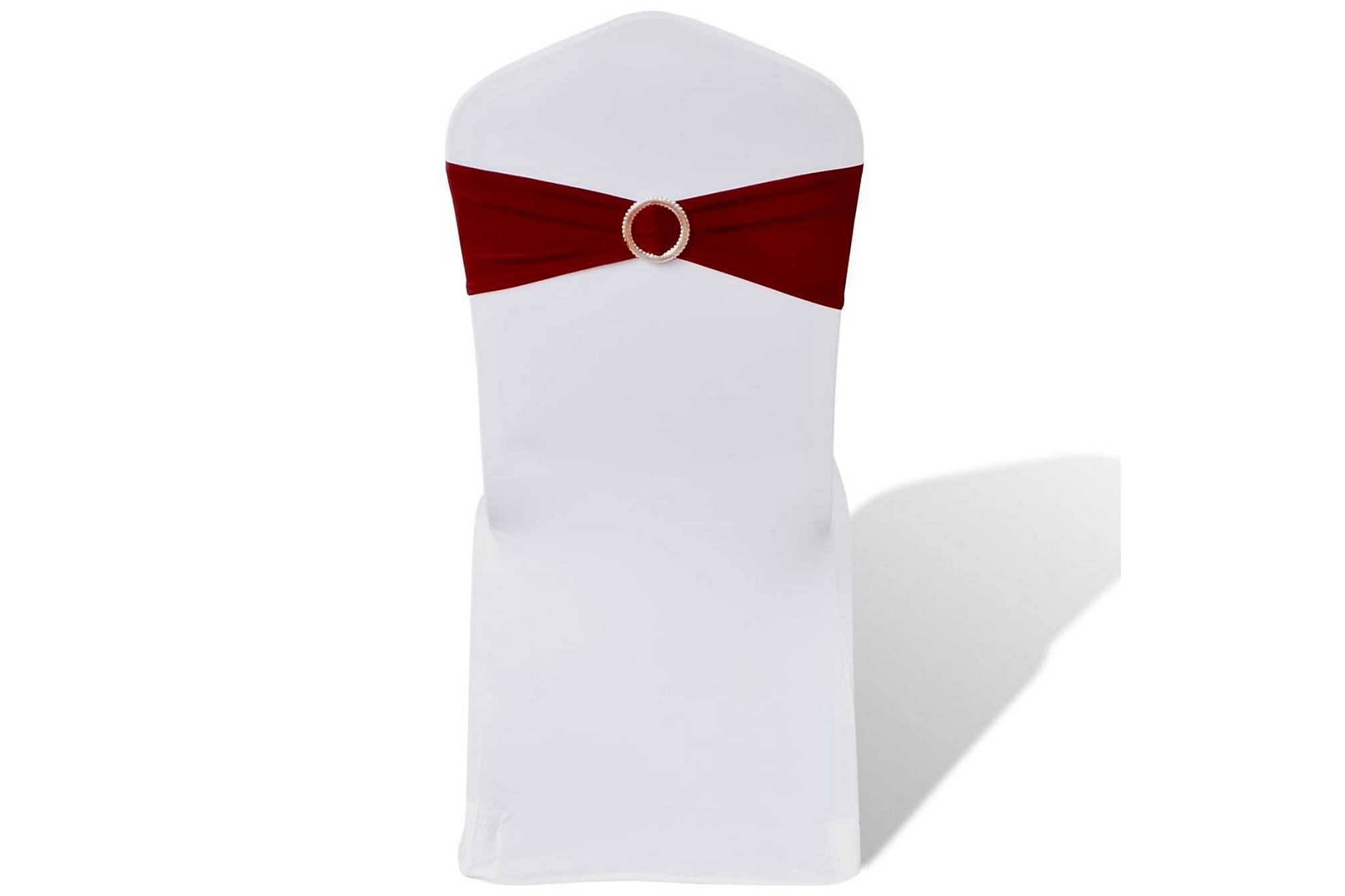 25 st vinröda dekorativa stolsband med diamantspänne