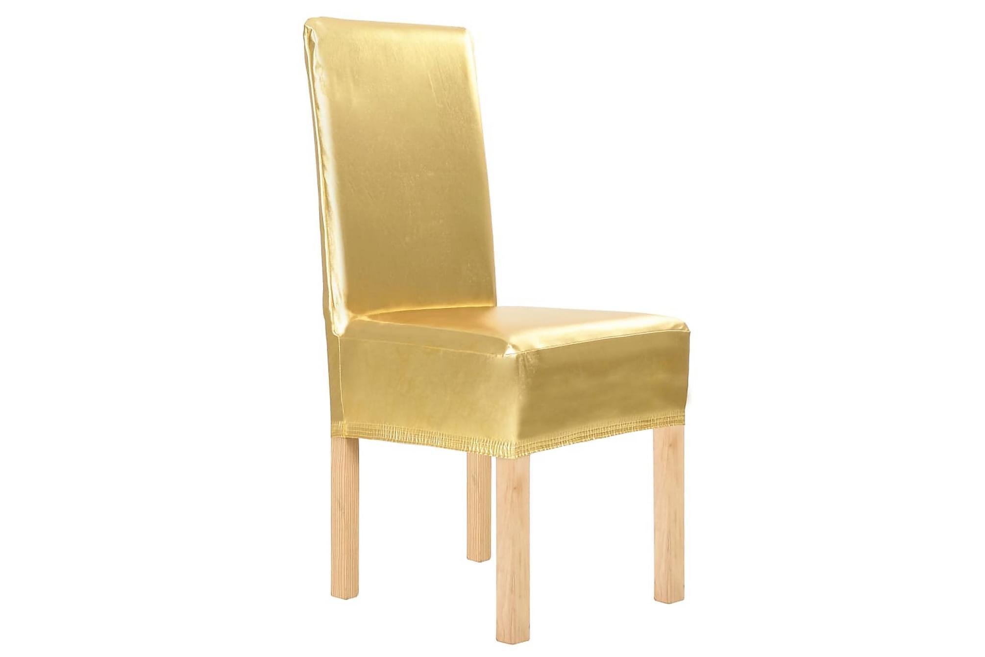 4 st Raka stolsöverdrag stretch guld