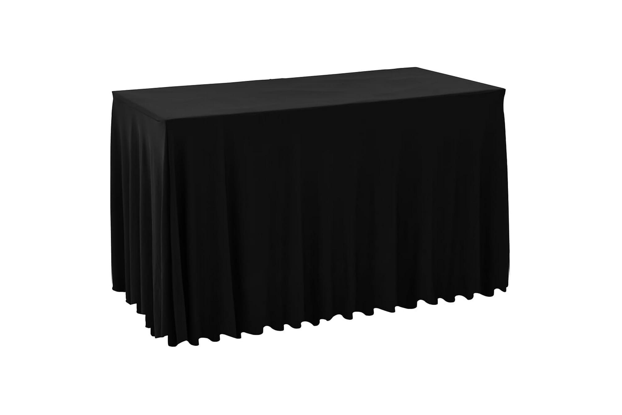 Bordsöverdrag 2 st stretch golvlångt svart 120×60,5×74 cm