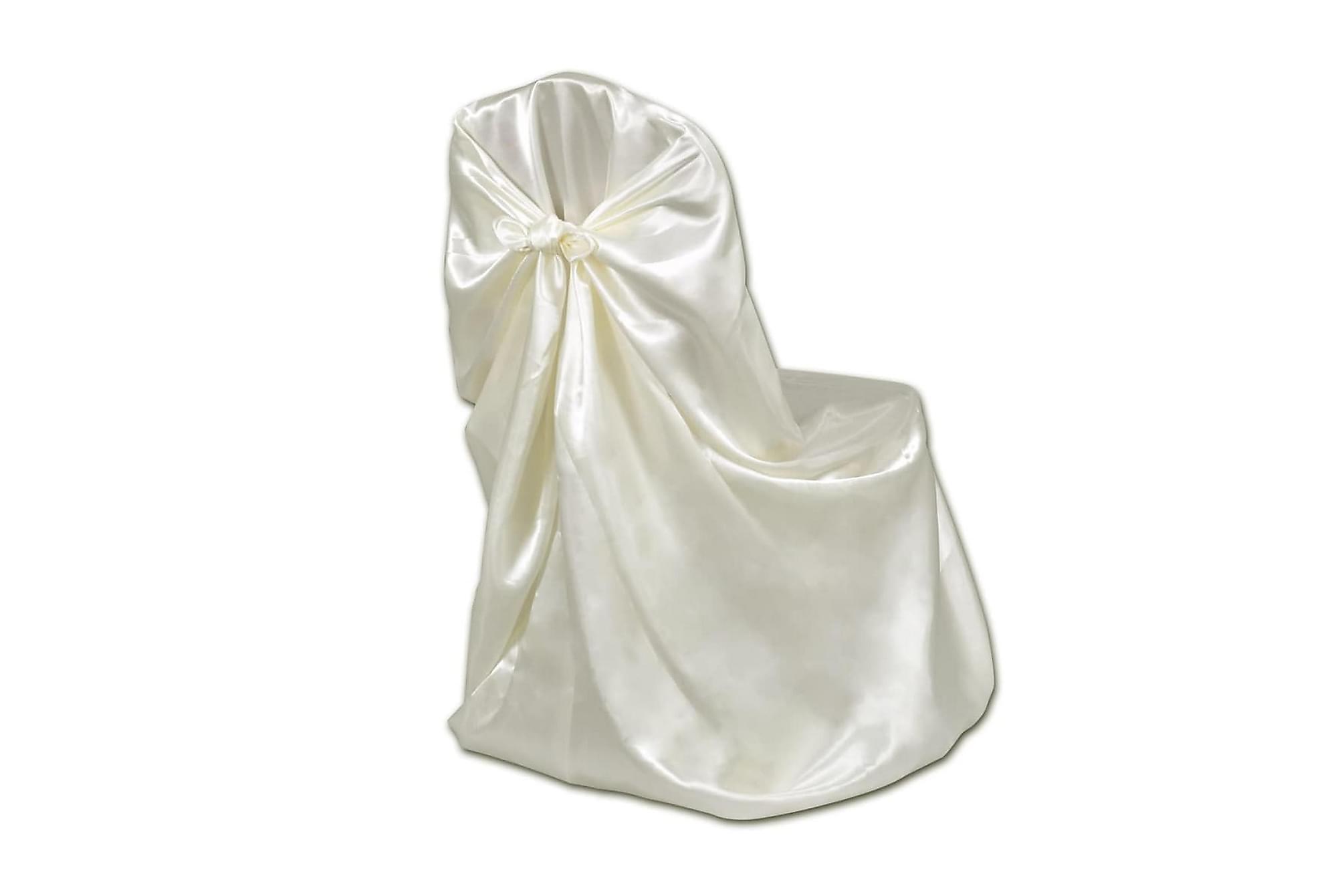 Stolsöverdrag för bröllop 12 st gräddvit