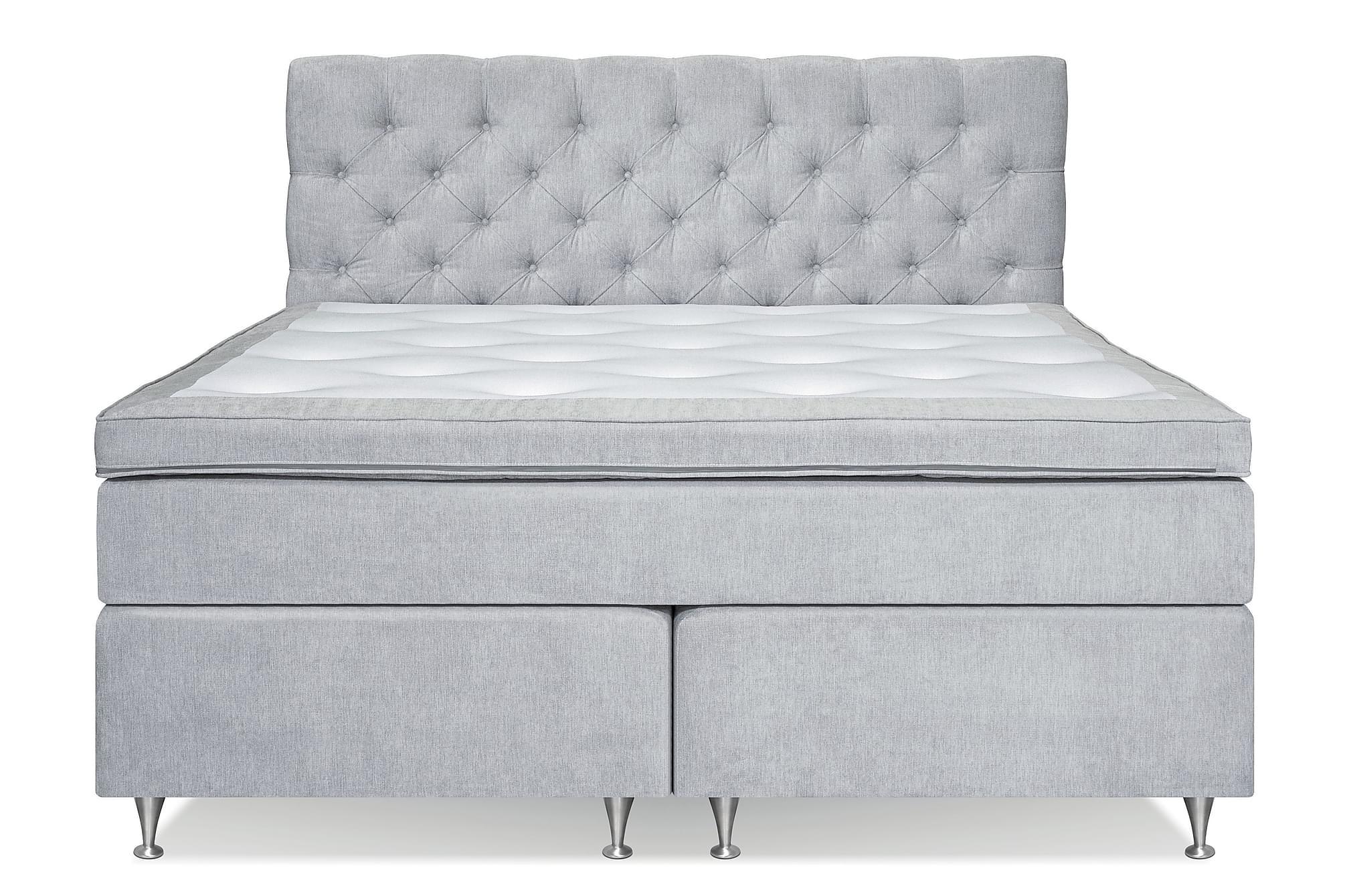 FLORENS Sängpaket Kontinentalsäng 180×200 Ljusgrå